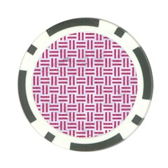 Woven1 White Marble & Pink Denim (r) Poker Chip Card Guard by trendistuff