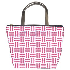 Woven1 White Marble & Pink Denim (r) Bucket Bags by trendistuff