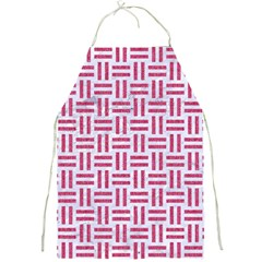Woven1 White Marble & Pink Denim (r) Full Print Aprons by trendistuff