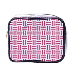 Woven1 White Marble & Pink Denim (r) Mini Toiletries Bags by trendistuff