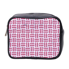 Woven1 White Marble & Pink Denim (r) Mini Toiletries Bag 2 Side by trendistuff