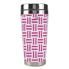 Woven1 White Marble & Pink Denim (r) Stainless Steel Travel Tumblers by trendistuff