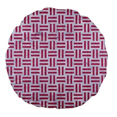 Woven1 White Marble & Pink Denim (r) Large 18  Premium Flano Round Cushions by trendistuff