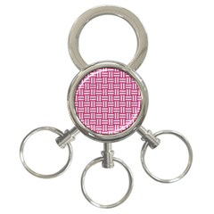 Woven1 White Marble & Pink Denim 3 Ring Key Chains by trendistuff