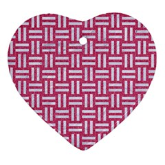 Woven1 White Marble & Pink Denim Heart Ornament (two Sides) by trendistuff