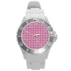 Woven1 White Marble & Pink Denim Round Plastic Sport Watch (l) by trendistuff