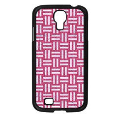 Woven1 White Marble & Pink Denim Samsung Galaxy S4 I9500/ I9505 Case (black) by trendistuff