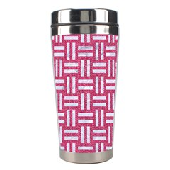 Woven1 White Marble & Pink Denim Stainless Steel Travel Tumblers by trendistuff
