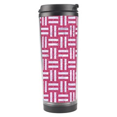 Woven1 White Marble & Pink Denim Travel Tumbler by trendistuff