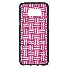 Woven1 White Marble & Pink Denim Samsung Galaxy S8 Plus Black Seamless Case by trendistuff