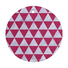 Triangle3 White Marble & Pink Denim Ornament (round) by trendistuff