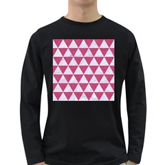 Triangle3 White Marble & Pink Denim Long Sleeve Dark T Shirts by trendistuff