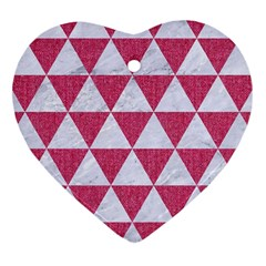 Triangle3 White Marble & Pink Denim Heart Ornament (two Sides) by trendistuff