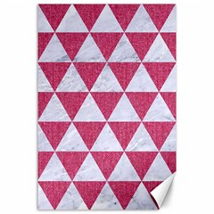 Triangle3 White Marble & Pink Denim Canvas 24  X 36  by trendistuff