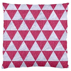 Triangle3 White Marble & Pink Denim Large Cushion Case (one Side) by trendistuff