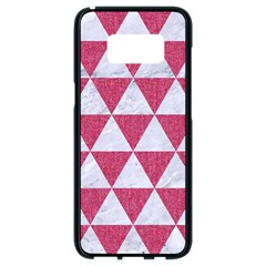 Triangle3 White Marble & Pink Denim Samsung Galaxy S8 Black Seamless Case by trendistuff