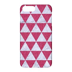 Triangle3 White Marble & Pink Denim Apple Iphone 8 Plus Hardshell Case by trendistuff