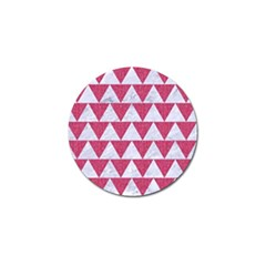 Triangle2 White Marble & Pink Denim Golf Ball Marker by trendistuff