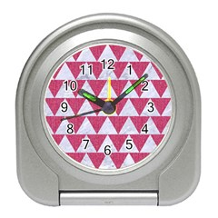 Triangle2 White Marble & Pink Denim Travel Alarm Clocks by trendistuff