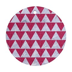 Triangle2 White Marble & Pink Denim Round Ornament (two Sides) by trendistuff