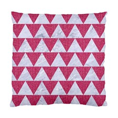 Triangle2 White Marble & Pink Denim Standard Cushion Case (one Side) by trendistuff