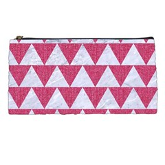 Triangle2 White Marble & Pink Denim Pencil Cases by trendistuff