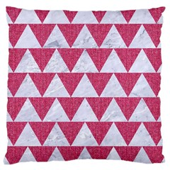 Triangle2 White Marble & Pink Denim Large Cushion Case (two Sides) by trendistuff