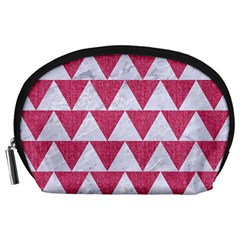 Triangle2 White Marble & Pink Denim Accessory Pouches (large)