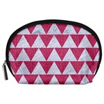 TRIANGLE2 WHITE MARBLE & PINK DENIM Accessory Pouches (Large)  Front