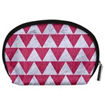 TRIANGLE2 WHITE MARBLE & PINK DENIM Accessory Pouches (Large)  Back