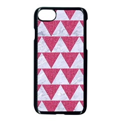 Triangle2 White Marble & Pink Denim Apple Iphone 7 Seamless Case (black) by trendistuff