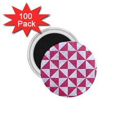 Triangle1 White Marble & Pink Denim 1 75  Magnets (100 Pack)  by trendistuff