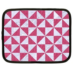 Triangle1 White Marble & Pink Denim Netbook Case (xxl)  by trendistuff