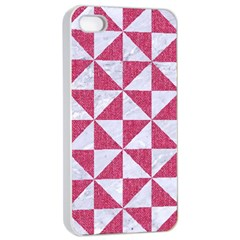 Triangle1 White Marble & Pink Denim Apple Iphone 4/4s Seamless Case (white) by trendistuff