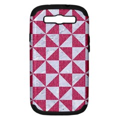 Triangle1 White Marble & Pink Denim Samsung Galaxy S Iii Hardshell Case (pc+silicone) by trendistuff