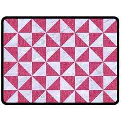 Triangle1 White Marble & Pink Denim Double Sided Fleece Blanket (large)  by trendistuff