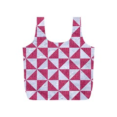 Triangle1 White Marble & Pink Denim Full Print Recycle Bags (s)  by trendistuff