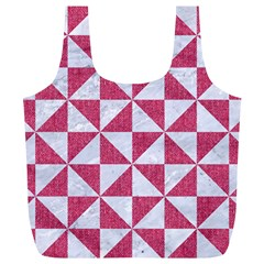 Triangle1 White Marble & Pink Denim Full Print Recycle Bags (l)  by trendistuff