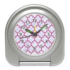 Tile1 White Marble & Pink Denim (r) Travel Alarm Clocks by trendistuff