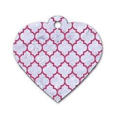 Tile1 White Marble & Pink Denim (r) Dog Tag Heart (two Sides)