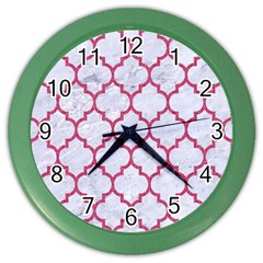 Tile1 White Marble & Pink Denim (r) Color Wall Clocks by trendistuff