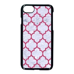 Tile1 White Marble & Pink Denim (r) Apple Iphone 8 Seamless Case (black) by trendistuff