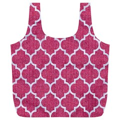 Tile1 White Marble & Pink Denim Full Print Recycle Bags (l)  by trendistuff