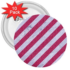Stripes3 White Marble & Pink Denim (r) 3  Buttons (10 Pack)  by trendistuff