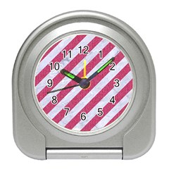 Stripes3 White Marble & Pink Denim (r) Travel Alarm Clocks by trendistuff