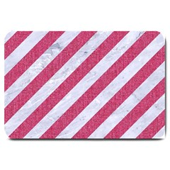 Stripes3 White Marble & Pink Denim (r) Large Doormat  by trendistuff
