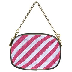 Stripes3 White Marble & Pink Denim (r) Chain Purses (two Sides)  by trendistuff
