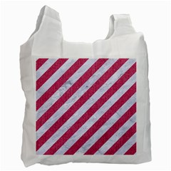 Stripes3 White Marble & Pink Denim (r) Recycle Bag (one Side) by trendistuff