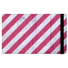 Stripes3 White Marble & Pink Denim (r) Apple Ipad 2 Flip Case by trendistuff