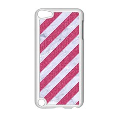 Stripes3 White Marble & Pink Denim (r) Apple Ipod Touch 5 Case (white) by trendistuff